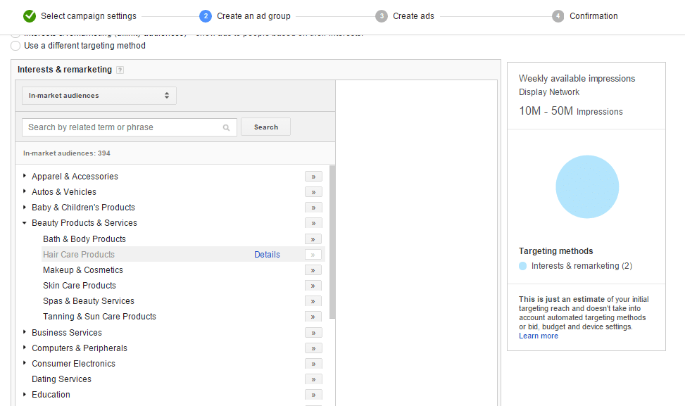 tips για το Google Display Network interests targeting